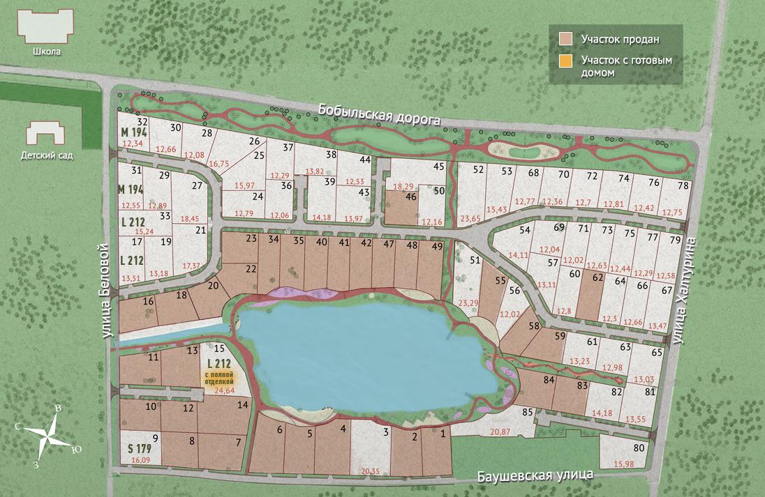 Генеральный план коттеджного посёлка Сад Времени