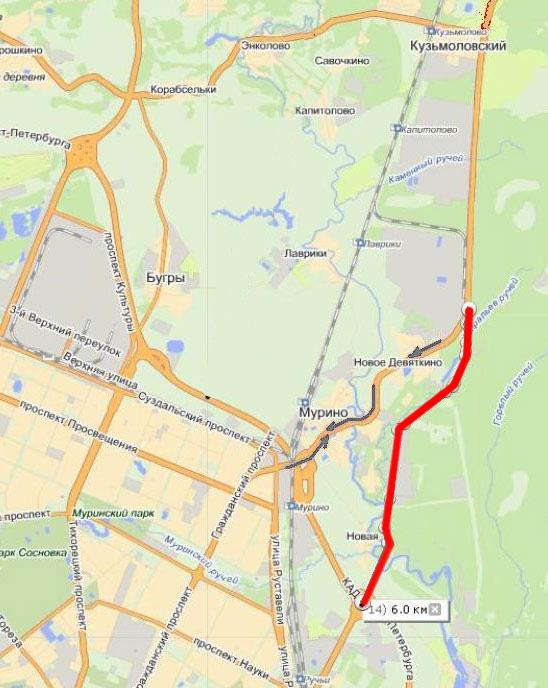 Проект продолжения Пискаревского проспекта в обход Мурино утвержден