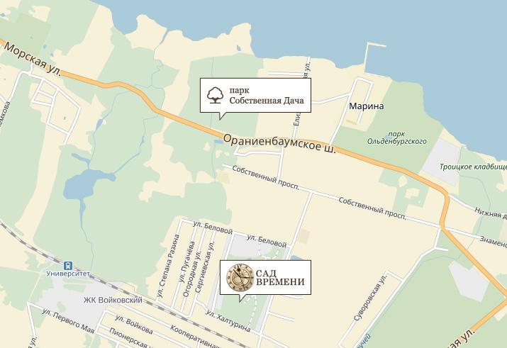 Парк «Собственная дача», расположенный рядом с коттеджным поселком «Сад времени» в Петергофе, пройдет капитальный ремонт